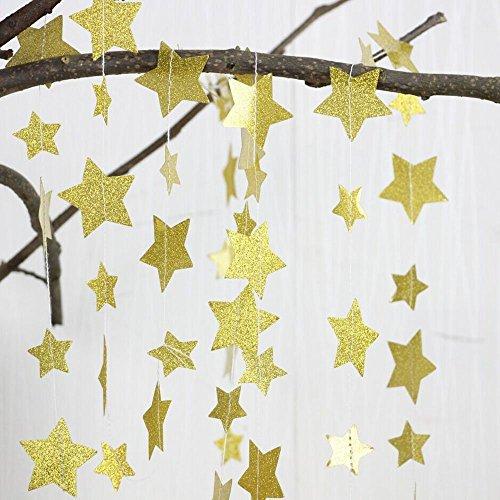 Lacheln Papier Stern Dekorationen Kind Geburtstagsfeier Baby Taufe Festliche Party-Zubehör Hochzeit Dekor Abgehängte Girlanden,Glitzern Golden, 8 Meter