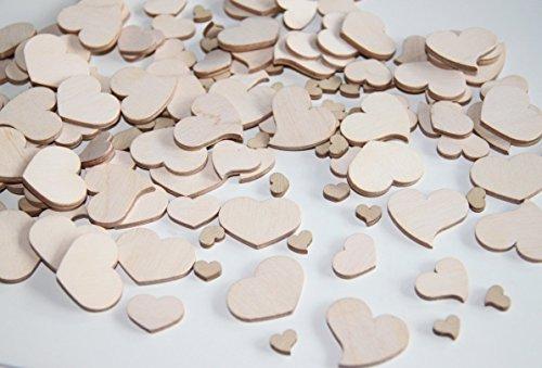 300 Stk Holz Herzen natur Naturdeko Hochzeit Tischschmuck Streuteile Holzherzen Holz Herz Dekoherzen Streuherzen Tischdekoration Streudeko Basteln Liebe Valentinstag Muttertag Tischdeko Holzherz