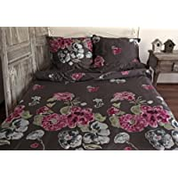 4 pièces MAKO SATIN drap 135x200 cm motifs à fleurs marron rose vif vert bleu fleurs!