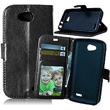 LG L90 Funda, Dokpav® Ultra Slim Delgado Flip PU Cuero Cover Case para LG L90 con Interiores Slip compartimentos para tarjetas - Negro