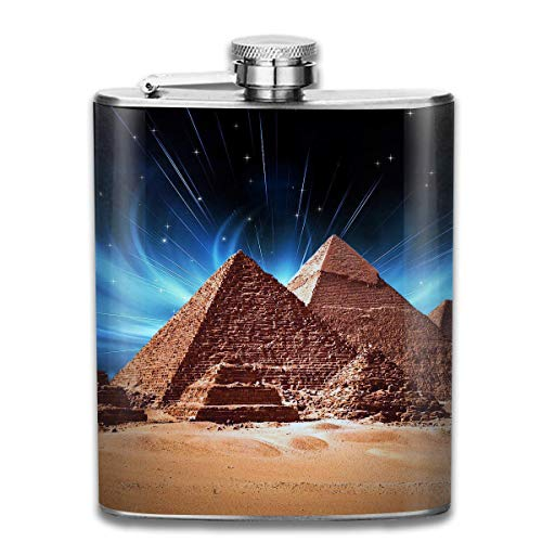 WBinHua Flachmänner Pyramids of Egypt Hip Flask for Liquor Stainless Steel Bottle Alcohol 7oz (In Loser Schüttung Geschenk-taschen)