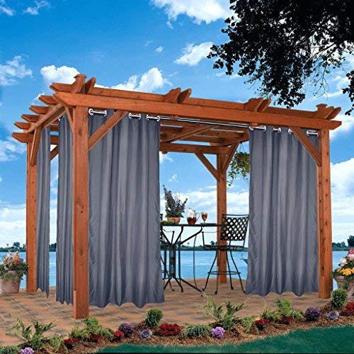 DOMDIL Outdoor Vorhänge 4 Stück Gartenlauben Balkon-Vorhänge Gardinen 132x235cm Verdunkelungsvorhänge mit Ösen, Vorhang Wasserdicht Mehltau beständig, Pavillon Strandhaus, Grau