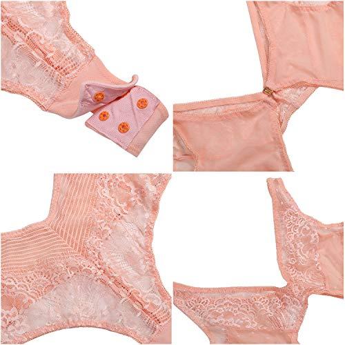 Amorbellla Damen Teddy Dessous Einteiler Einteiler Body - Pink - Groß - 4