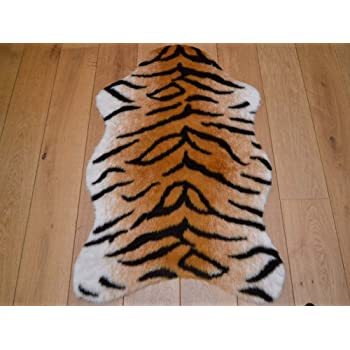 Bengal Tiger Animal Faux Fur Rug. Available In 4 Sizes (70cm X 100cm (Pelt))