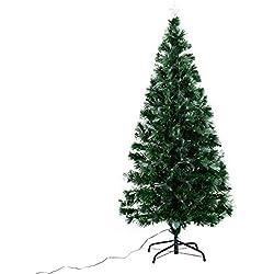Arbol de Navidad Altura 150 cm + Estrella y 180 Luces LED Arboles Fibra Optica