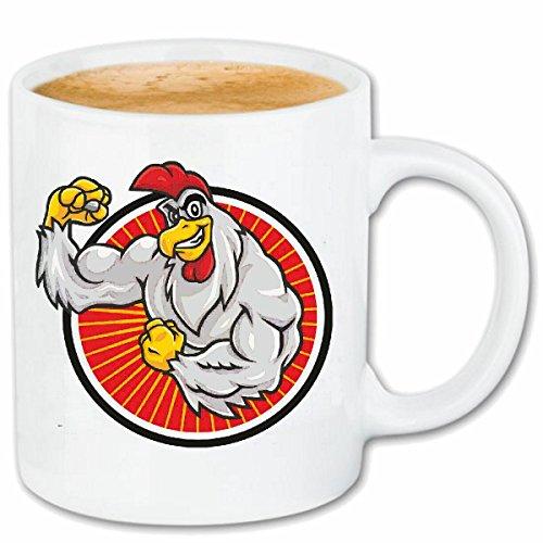 Reifen-Markt Kaffeetasse Gockel HAHN Huhn Macht Kraftsport Bodybuilding Gym KRAFTTRAINING FITNESSSTUDIO Muskelaufbau NAHRUNGSERGÄNZUNG Gewichtheben Bodybuilder Kera