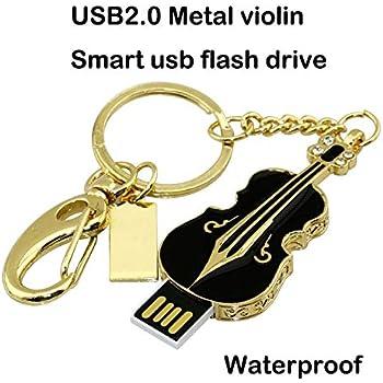 Chiavetta USB da 32 GB, chiave in metallo lucido per violino in metallo con diamanti, chiave USB 2.0, nero