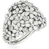 Pandora para mujer-anillo dulce margaritas 925 plata esmalte blanco zirconia - 190936EN12