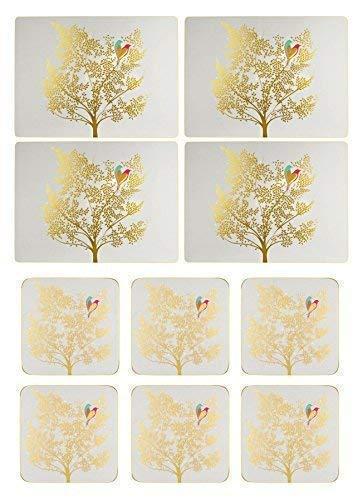 Set de 4 Oiseaux Arbre Feuille Gris Clair Doré Liège Soutenu Carré Set de Table & 6 Sous-Verre