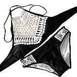 Push up BH extrem für Kleine brüste 70a ohne träger breite hüfte Bikini Set Neckholder BK542 (S, Schwarz)