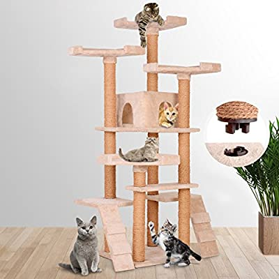 Leopet Quick Connect Cat Tree Cat Scratching Post Cat House Scratcher (Choice of Colours) 160 cm / 62.9 in High with Spacious Fluffy Caves Large Sightseeing Platforms