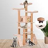 Leopet Tiragraffi albero palestra gioco per gatti altezza media 160 cm con 1 tana, 4 piattaforme d'osservazione e 2 scale colore beige