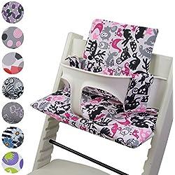 BambiniWelt Cojín de asiento para trona Stokke Tripp trapp * 20colores * cojín de repuesto, 2piezas blanco Weiß Pinke Bunte Tiere