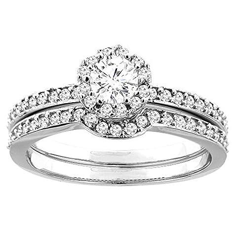 Revoni 14 Karat Weißgold 3-Stein Brillantschliff Ring Diamant mit Diamanten CW425D25368