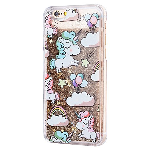 WE LOVE CASE iPhone 5S Hülle Einhorn , iPhone SE Hülle Glitzer Unicorn , iPhone 5 Hülle Flüssig Liquid Hardcase Schönen Klar Hart Plastik Tasche Kristall Handytasche Bling Treibsand Glanz Sparkle Funk Golden