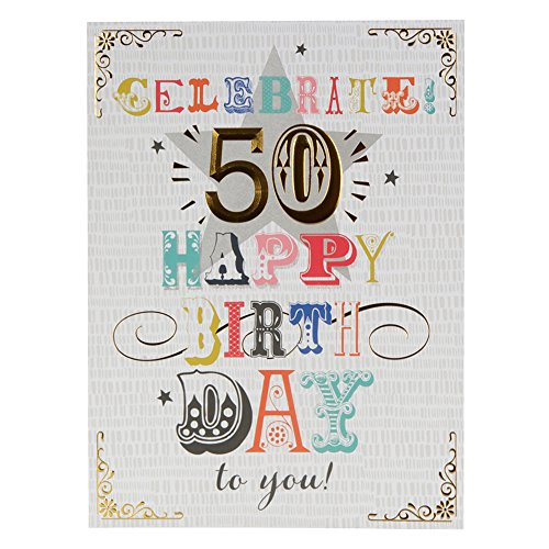 Hallmark 50th Birthday Card 'Here's To You' - Large