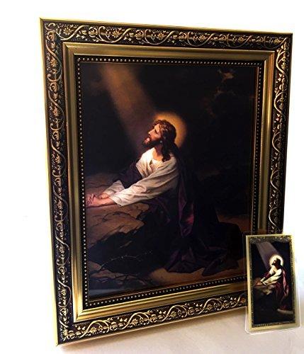 Getsemani, Jesus Christus im Garten 20,3x 25,4cm gerahmt print-wall Keramikschild in Kunstvoller Gold Finish Rahmen mit Gebet Karte im lieferumfang enthalten