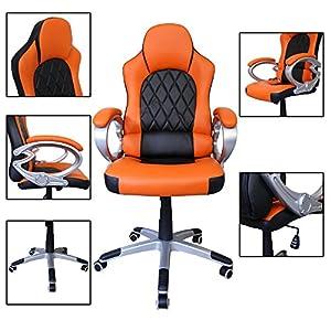 51q%2B2eVu81L. SS300  - HG-silla-giratoria-de-oficina-silla-de-juego-confort-premium-apoyabrazos-tapizados-silla-de-carrera-capacidad-de-carga-200-kg-altura-ajustable-negro-naranja