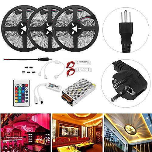 wuchance 15 M SMD5050 RGB Flexible Wasserdichte Alexa APP Home Wifi Steuer Smart Led-streifen Kit AC110-240V (Color : EU plug)