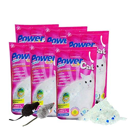 PowerCat 6 x 5 = 30 L Power Cat Magic Silikat Katzenstreu Streu + 2 Mäuse