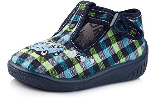 Ladeheid Zapatillas Zapatos Calzado Unisex Niños LARW001(Azul Marino/Cuadros, 18)