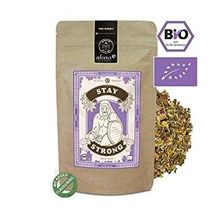 alveus Herbal Stay Strong BIO: No added flavouring. Anise*, blackberry leaves*, fennel*, apple*, rose hip*, buckhorn*, peppermint*, raspberry leaves*, elder*, marigold*, rose petals*. *Certified organic