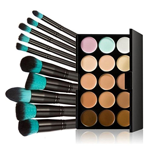 Kolylong Kit de Pinceau maquillage Professionnel Pinceaux 10 Pcs Maquillage Set Teint Poudre Eyeshadow Outil +15 Couleurs Correcteur Poudre Contour Palette vert malachite