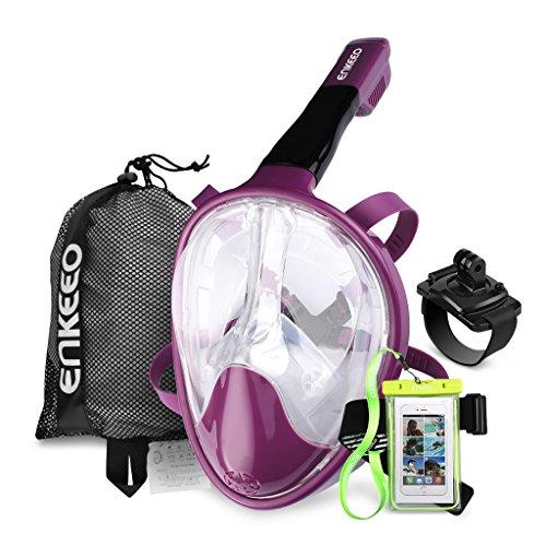 Enkeeo - Máscara de Buceo para Snorkel, 180°Vista Panorámica, Impermeable y Anti-Niebla (Caso de Telefono Impermeable y Pulsera giratoria para GoPro incluidos)