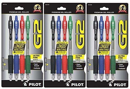 Pilot G2Retractable Premium Gel Ink Rollerball Stifte, Ultra Fine Point, 4er Pack, verschiedene Farben, schwarz/blau/rot/grün Tinten, 3von jeder Farbe = insgesamt 12Stifte