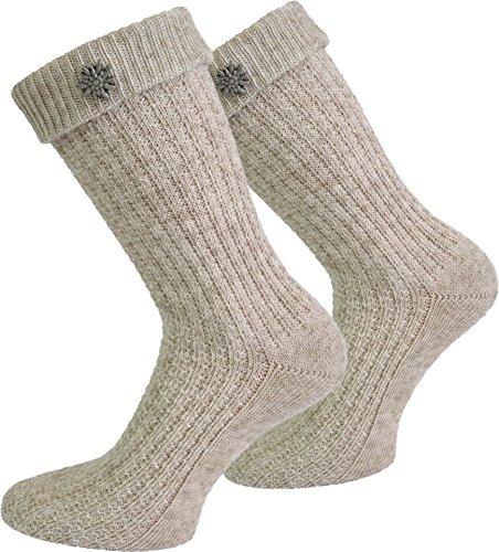2 x Socken kurz oder Lang für Trachtenkleidung Farbe Naturmelange mit Edelweiß-Anstecker Größe 43/46