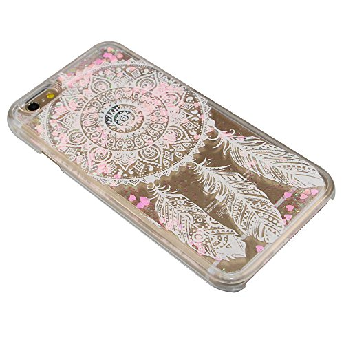 Flüssigkeit Glitzer Hülle für iPhone SE,Transparent Hülle für iPhone SE,iPhone 5S Clear Hard Case Hülle Klare Plastic Gel Schutzhülle Durchsichtig Rückschale Etui für iPhone 5,iPhone 5S Hülle Blumen C Pink Heart 14