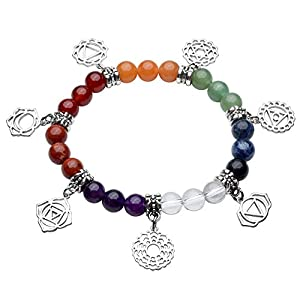 JOVIVI Schmuck, Natürlich Stein Armband 7 Chakra Symbol Anhänger Balance Armreif Reiki-Therapie Yoga-Armband