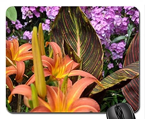 Day Lilies and Canna Tropicana Foliage and Flowers - English Garden Mouse Pad, Mousepad (Flowers Mouse Pad)