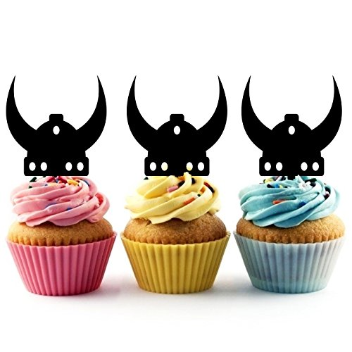 Viking Helmet Silhouette Party Wedding Birthday Acrylic Cupcake Toppers Decor 10 pcs