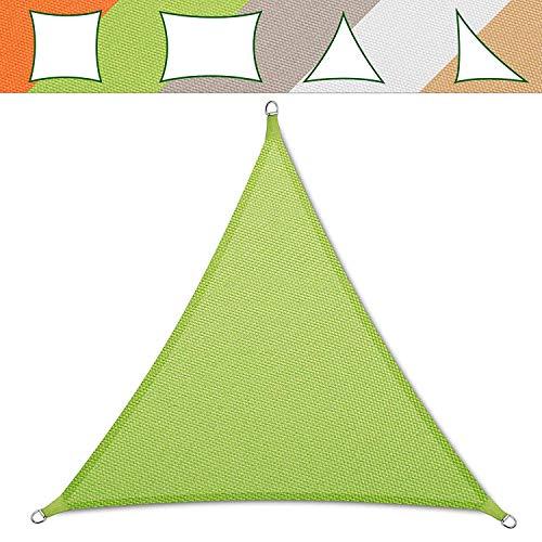 casa pura Voile d'ombrage Triangulaire en Coloris Divers | matière imperméable - Lavable en Machine | Taille 5x5x5m | densité 160g par m² | Vert Clair
