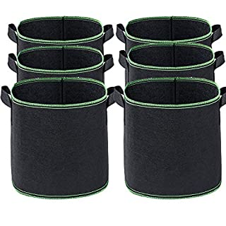 Abimars 6Pcs Plant Growing Bags, 5 Gallon Breathable Nonwoven Fabric Grow Bags Heavy Duty Thickened Aeration Garden Pots Container with Handles Straps for Flowers Vegetables