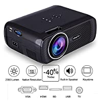 YUZEU Portable Projector,Mini Projector,Home Video Projector,Projector Full HD Support 1080P,2300 Lumen,with HDMI/USB/SD/TV/AV/VGA Input,for Phone/Home Cinema/Game/Party