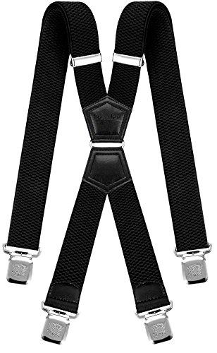 Decalen Hosenträger für Herren mit 4 Starken Clips X Form Lang Eine Größe Passt Alle Verschiedenen Farben, Schwarz, Lange
