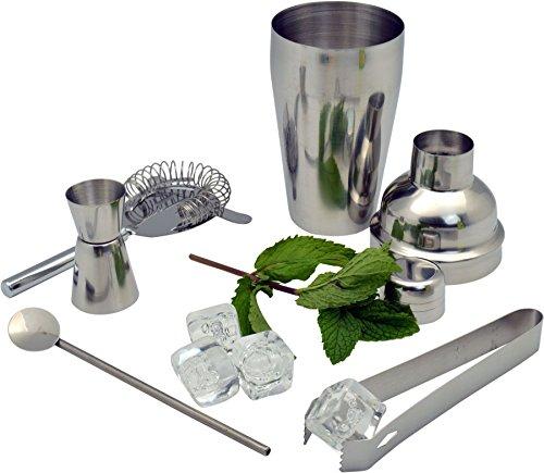 Manhattan Cocktail-Set - 5-teilig - Shaker, Messbecher, Zange, Sieb, Löffel