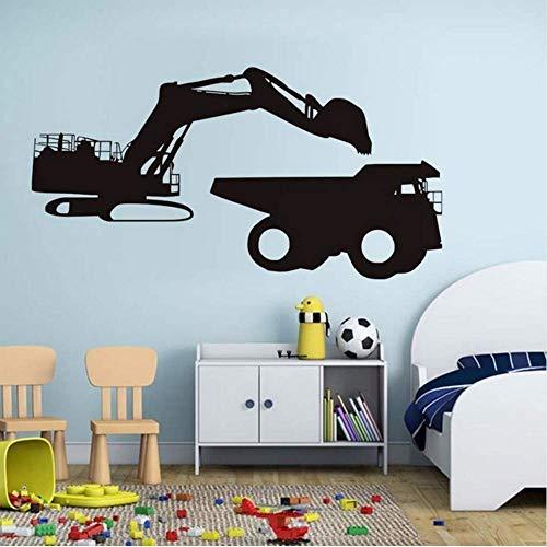 WENYAO Fahrzeug Wandaufkleber Bagger Laden Vinyl Abnehmbare wasserdichte Tapete für Wohnzimmer Schlafzimmer Kunst Aufkleber Wohnkultur 112 * 58. cm