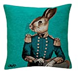 BelgianTapestries edle Kissenhülle, Zierkissenhülle 45 X 45 cm Fabfunky Rabbit türkis Gobelin Cushion