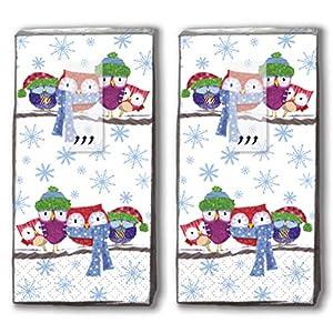 20 Taschentücher (2x 10) Taschentücher Eulen in Kälte/Tiere / Winter/Weihnachten