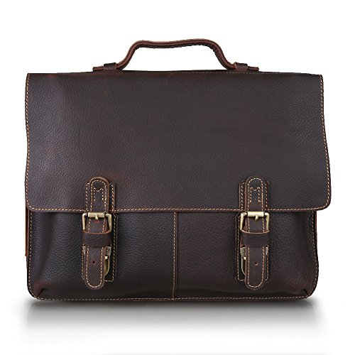 Kattee Herren Leder Aktentasche Messenger Bags Handtasche Schultertasche Umhängetasche-Großer Version Dunkelbraun