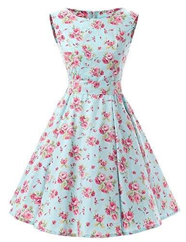 VKStar®1950er Retro Stil Ärmellos Rockabilly Swing Abendkleid Partykleid Minze BlumenXXL (1950 Minze Kleid)
