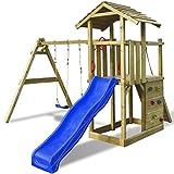 SENLUOWX Spielturm mit Leiter Rutsche Schaukeln 419x350x266 cm aus hochdruckimprägniertem Holz