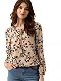 #10: POISON IVY Women's Casual Full Sleeve Floral Print Women's Multicolor Beige Top …