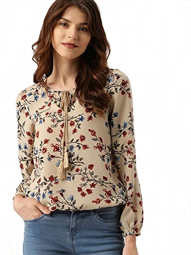 POISON IVY Women's Casual Full Sleeve Floral Print Women's Multicolor Beige Top … (Beige, X-Large)