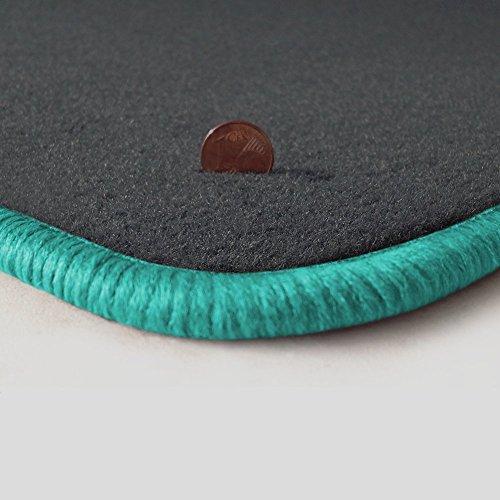 Preisvergleich Produktbild Passgenau Fußmatten aus Velours in Dunkelgrau (Q501) und Rand in Mint (505) für Focus C-Max 1.Generation MK1 C214 Baujahr 2003-2010