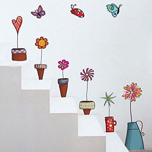 UKSELLINGSUPPLIERS Pegatinas para ventana de policloruro de vinilo, de pared, macetas y flores, con mariposas, Naturaleza, adhesivos de decoración del hogar de vinilo, 60cm x 45cm