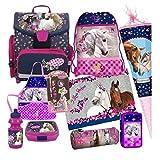 Pferd Pony Einhorn Horse 13 Teile Schulranzen RANZEN Schulrucksack Tornister Ranzen Tasche Schultüte 85 cm FEDERMAPPE Set inkl. Sticker von Kids4shop